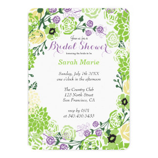 Floral Purple & Green Flower Wreath Invitation