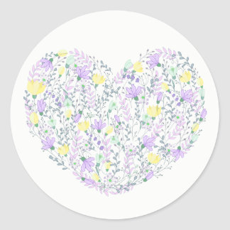 Floral Purple Heart With Lavender Flowers Wedding Classic Round Sticker