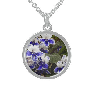 """""""FLORAL (PURPLE-ISH BLUE AND WHITE FLOWERS) ROUND ROUND PENDANT NECKLACE"""