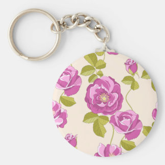 Floral Purple Lavender Rose Watercolor Flower Keychain