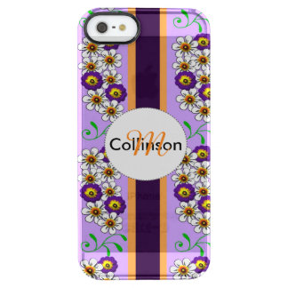 Floral Purple Orange Regency Stripes Personalized Clear iPhone SE/5/5s Case