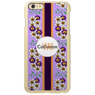 Floral Purple Orange Regency Stripes Personalized Incipio Feather Shine iPhone 6 Plus Case
