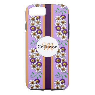 Floral Purple Orange Regency Stripes Personalized iPhone 8/7 Case