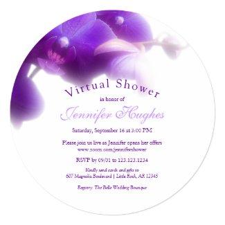 Floral Purple Orchid Virtual Bridal Shower Invitation