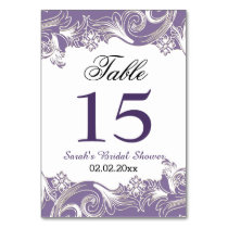 Floral Purple Personalized table numbers