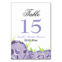 Floral Purple Personalized table numbers Card