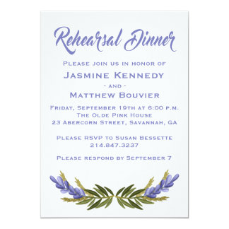 Floral Purple Rehearsal Dinner Lavender Flowers Card