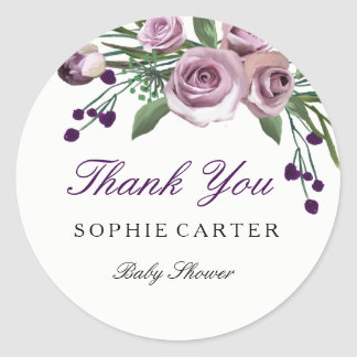 Floral Purple Rose baby Shower Thank you Sticker