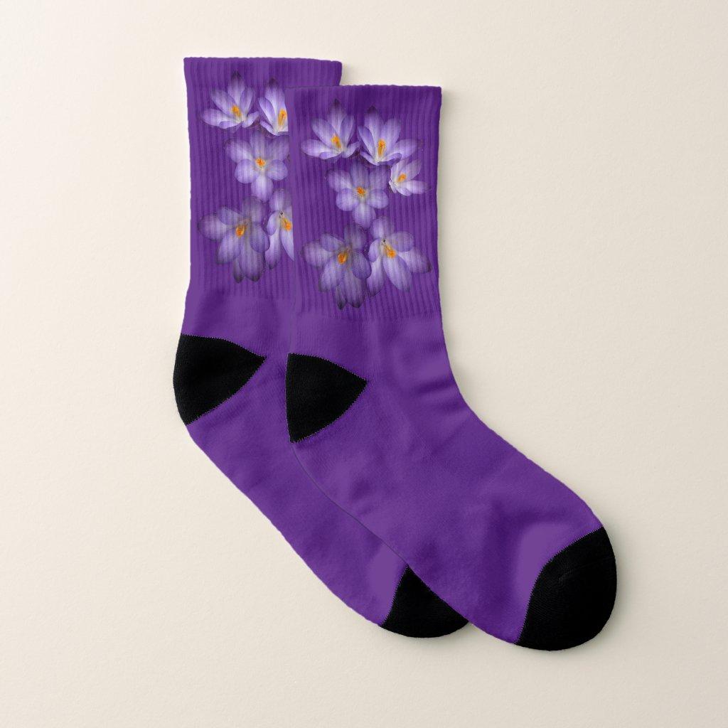 Floral Purple Spring Crocus Flowers Socks