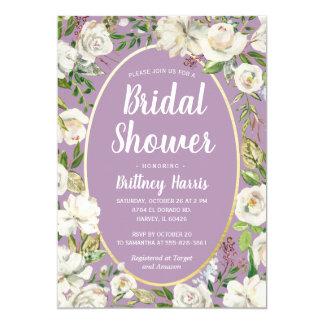 Floral Purple Spring Garden Bridal Shower Brunch Invitation