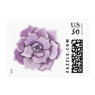 Floral Purple Succulent Cactus Watercolor Postage