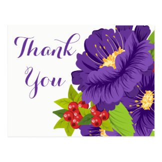 Floral Purple Thank You Flowers - Wedding Party Postcard