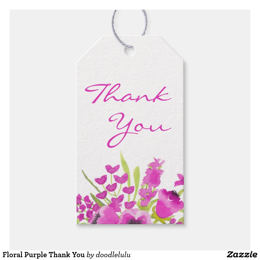 Floral Purple Thank You Gift Tags