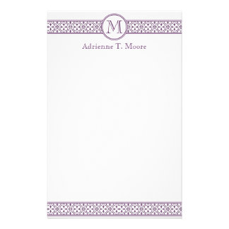 Floral Purple White Monogram Initial Stationery