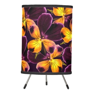 Floral Purple Yellow Abstract Flowers Tripod Lamp