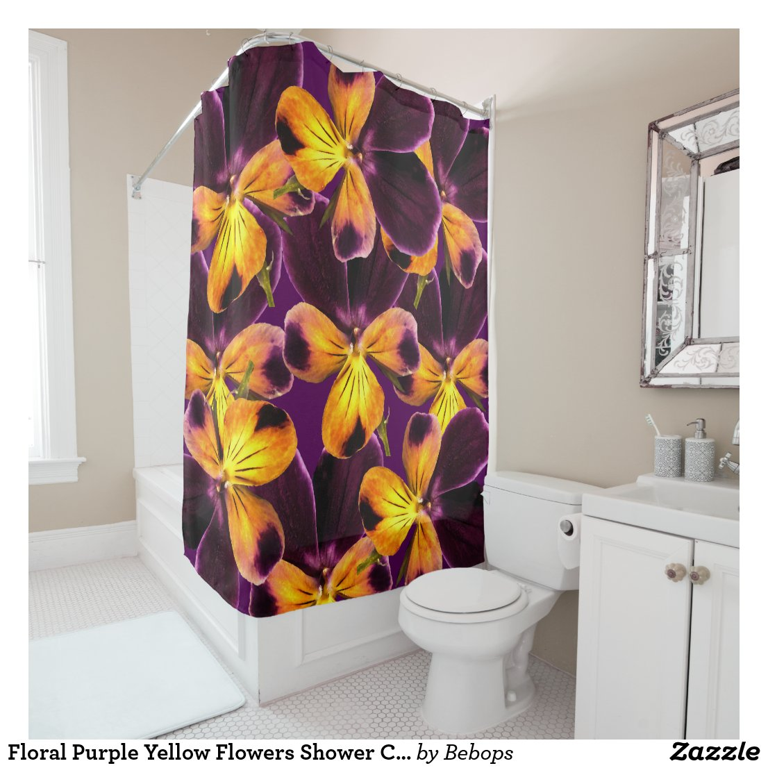Floral Purple Yellow Flowers Shower Curtain