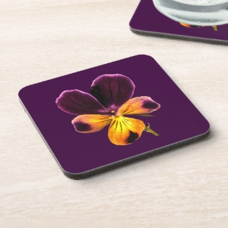 Floral Purple Yellow Johnny Jump Up Flower Coaster