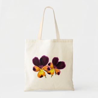 Floral Purple Yellow Pansy Flower Tote Bag
