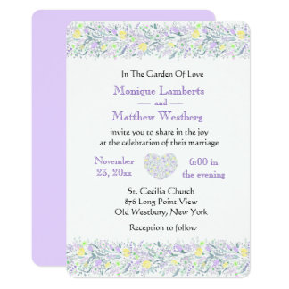 Floral Purple & Yellow Wedding Flowers & Hearts Invitation