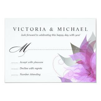 """Floral púrpura de la orquídea de RSVP 2-Sided Invitación 3.5"""" X 5"""""""