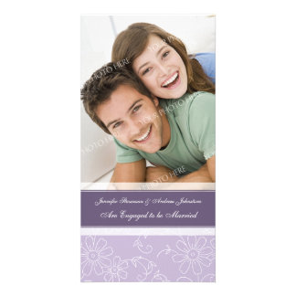 Floral púrpura de la tarjeta de la foto de la invi tarjeta fotografica