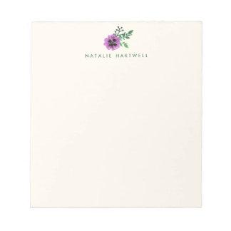 Floral púrpura del pensamiento personalizado bloc