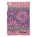 Floral púrpura del rosa del chica del brillo perso iPad mini funda