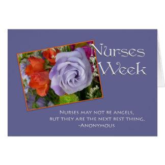 Floral púrpura del Semana-Bonito de las enfermeras Tarjeta De Felicitación