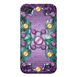 Floral púrpura del Victorian del vintage iPhone 4 Fundas