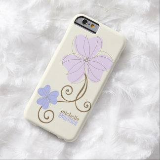 Floral púrpura elegante funda para iPhone 6 barely there