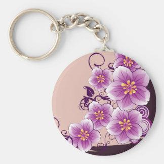 Floral púrpura llavero