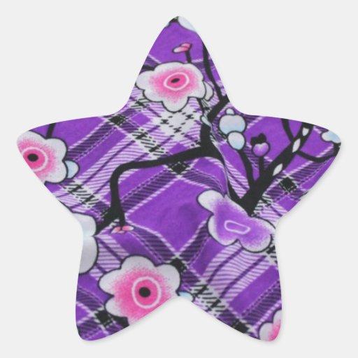 Floral púrpura calcomanías forma de estrellas personalizadas