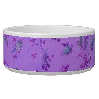 Floral púrpura precioso tazones para perrros