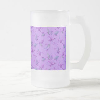 Floral púrpura precioso taza cristal mate
