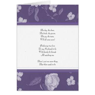 Floral púrpura sea mi tarjeta del bridemaid