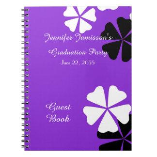 Floral púrpura y blanco del libro de visitas de la libro de apuntes