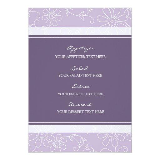 """Floral púrpura y blanco del menú del boda invitación 5"""" x 7"""""""