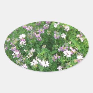 Floral púrpura y blanco pegatinas ovales