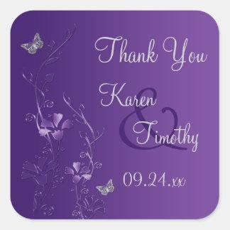 Floral púrpura y de plata con el pegatina de las