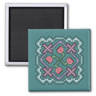 Floral Quilt Cross Stitch Magnet