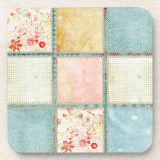 Floral Quilt Squares Beverage Coaster