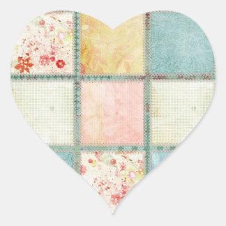 Floral Quilt Squares Heart Sticker