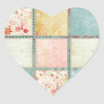 Floral Quilt Squares Heart Stickers