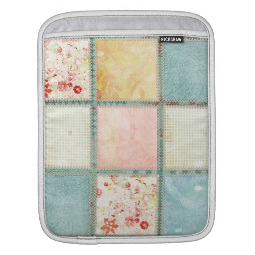 Floral Quilt Squares Sleeves For iPads