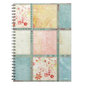 Floral Quilt Squares Square Spiral Notebook