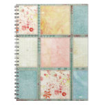 Floral Quilt Squares Square Spiral Notebooks