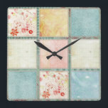 "Floral Quilt Squares Square Wall Clock<br><div class=""desc"">Floral Quilt Squares</div>"