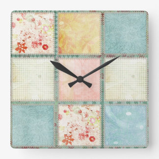 Floral Quilt Squares Square Wall Clock