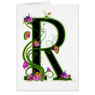 Floral R Greeting Card
