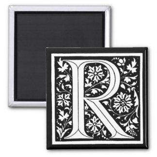 ` Floral R del monograma del vintage' Imán Cuadrado